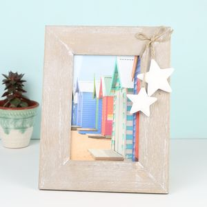 Wooden Photo Frame With Hanging Stars - picture frames