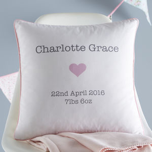 Personalised New Baby Cushion - children's room