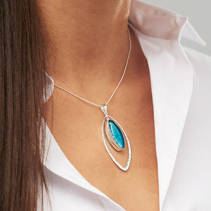 Murano Glass & Silver Hammered Elipse Pendant