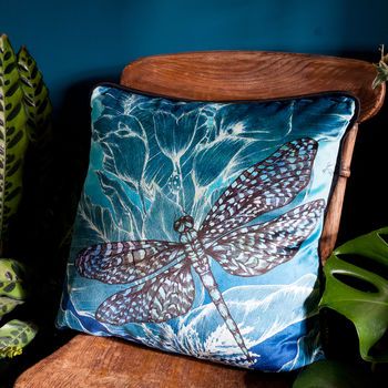 Dragonfly Lily Velvet Cushion In Teal