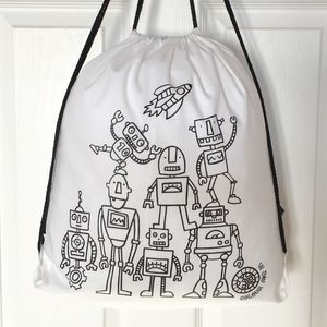 Pump Bag With Robots To Colour In - bedroom