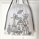 Pump Bag With Robots To Colour In