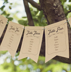 Frame Design Wedding Table Plan Bunting - rustic wedding