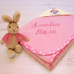 Personalised Blanket With Flopsy Bunny Rattle - baby's room
