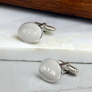 Domed Oval Silver Hinged Cufflinks - cufflinks