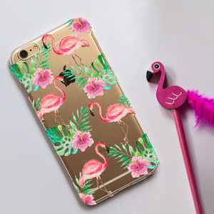 Clear Phone Case With Pink Flamingo Print - birthday gifts
