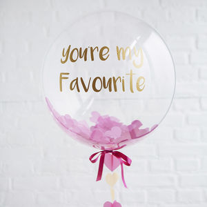 Personalised Heart Confetti Bubble Balloon - best valentine's gifts for her