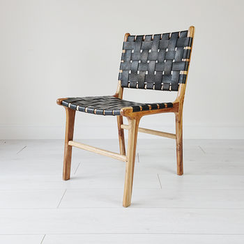 Natural Teak And Leather Dining Chair