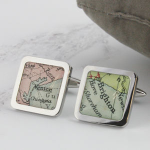 Personalised Square Map Location Cufflinks - for him