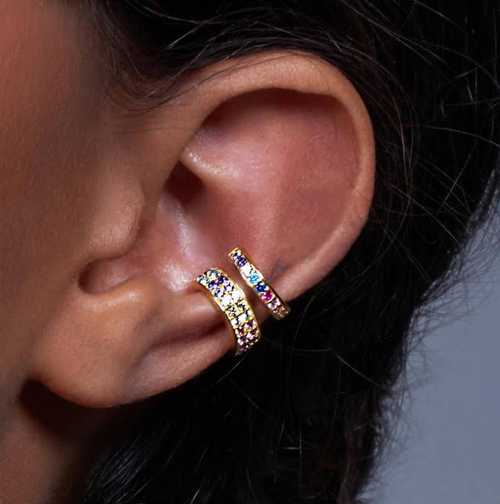 Rhodium Silver Crystal Rainbow Ear Cuff