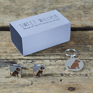 Daddy And Me Cockapoo Cufflinks And Dog Tag Set