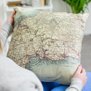 Personalised Vintage Map Cushion