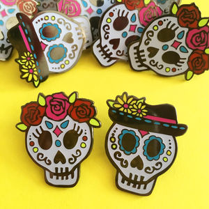Day Of The Dead Sugar Skull Enamel Pins - the mexicana collection