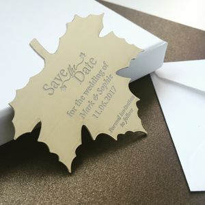 Autumn Gold Leaf Save The Date Metallic Magnet - wedding stationery