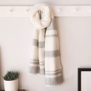 Cream And Grey Striped Blanket Scarf