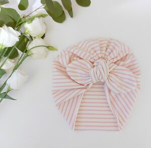 Baby Girl Turban Hat In Pink Stripe