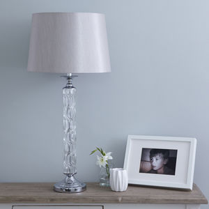 Glass Column Table Lamp With Shade - bedside lamps