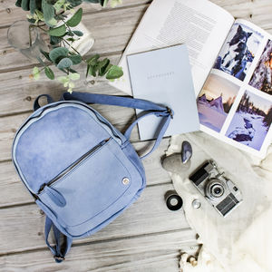 Personalised Pastel Blue Suede Leather Mini Backpack - backpacks