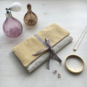 Personalised Linen And Calico Jewellery Roll - jewellery storage & trinket boxes