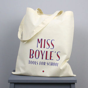 Personalised Teacher's 'Tools For School' Tote Bag