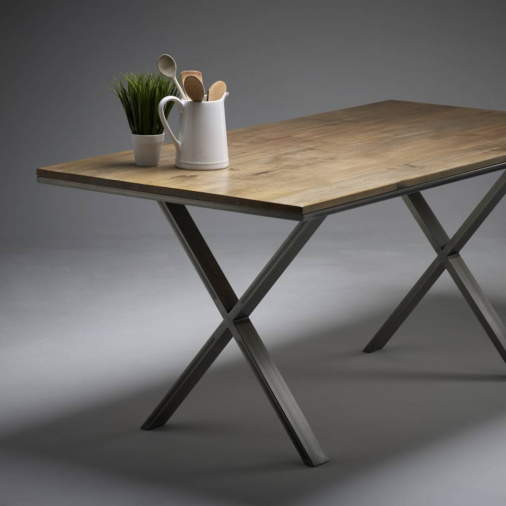 solid maple dining table choice of steel leg designs by wicked hairpins. Black Bedroom Furniture Sets. Home Design Ideas