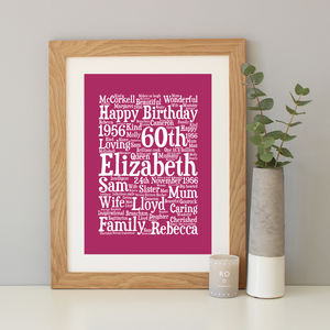 Personalised 60th Birthday Word Art Gift - dates & special occasions