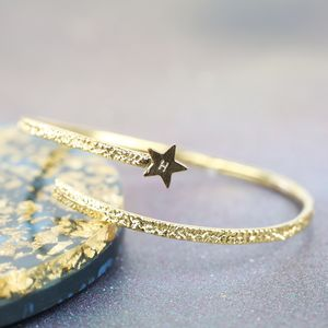 Textured Gold Star Bangle - bracelets & bangles
