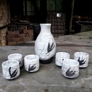 Seven Piece Raku Sake Set - jugs & bottles