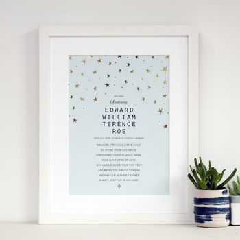 Personalised Christening Gift With Gold Stars