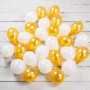 Pack Of 28 White And Gold Mini Balloons