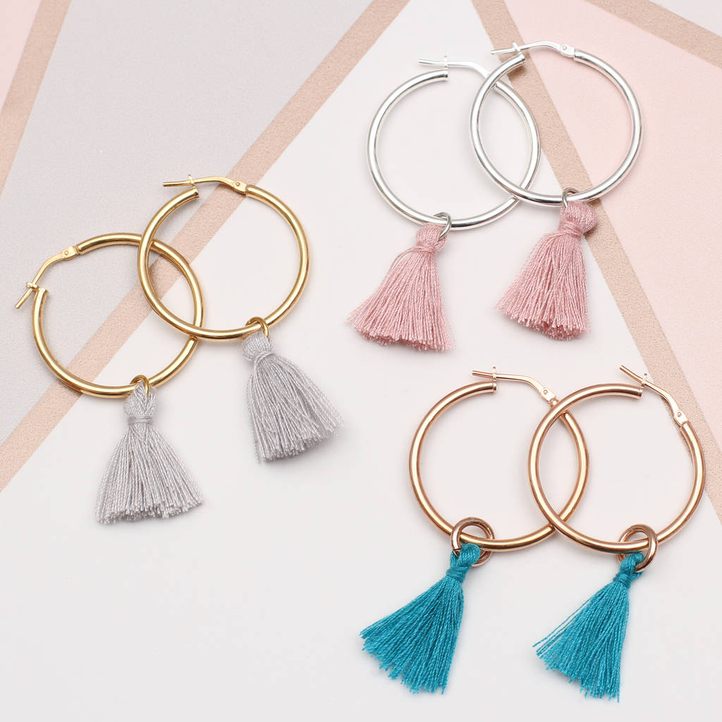 Gold Or Sterling Silver Tassel Hoop Earrings