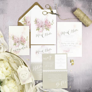 'Full Bloom' Watercolour Floral Wedding Invitations - invitations