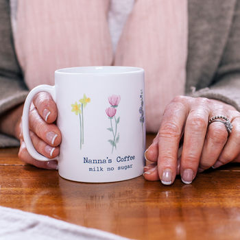 Personalised Watercolour Flower Mug