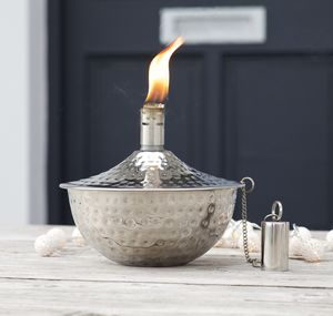 Garden Oil Lamp Copper Or Silver - al fresco dining