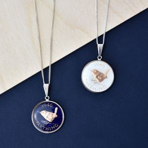 Farthing 70th 1946 Birthday Enamel Coin Necklace - birthday gifts