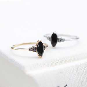 Classic Black Spinel Ring In Silver Or Gold - rings