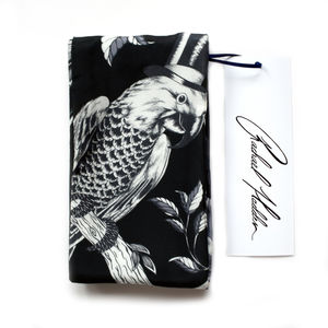 Hand Drawn Black Parrot Twilly Scarf - hats, scarves & gloves