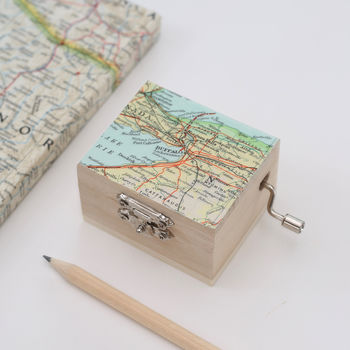 Personalised Map Location Music Box Birthday Keepsake