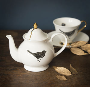The Bird Small Bone China Teapot - kitchen