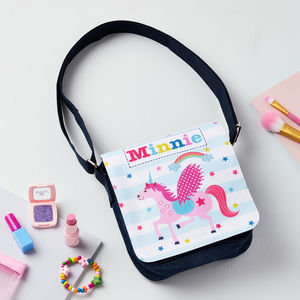 Girls Personalised Unicorn Denim Bag