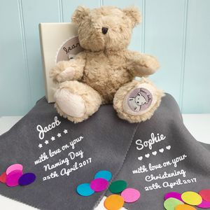 Christening Or Naming Day Teddy With Blanket - traditional toys & games