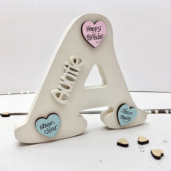 A Is For Auntie Letter Personalised Hearts