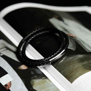 Mens Handmade Leather Plaited Bracelet