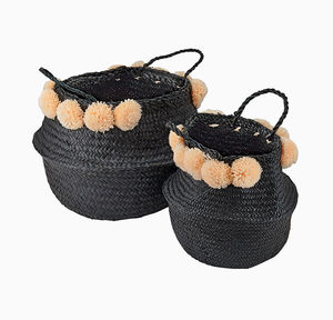 Black Seagrass Basket With Coral Pom Poms