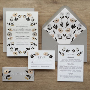Muted Floral Wedding Invitations - invitations