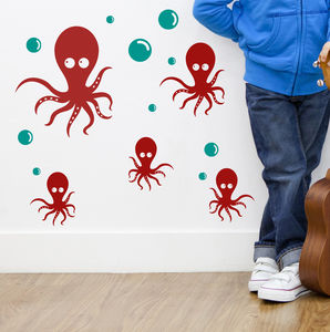 Octopus Family Wall Sticker Decals - decorative accessories