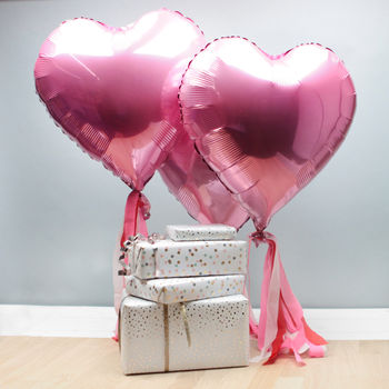 6x Pink Heart Shaped Foil Balloons With Tassels