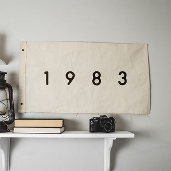 Personalised 'Year' Wall Hanging Cotton Flag