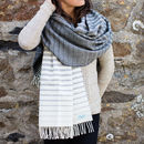 Striped Lambswool Travel Wrap / Pashmina