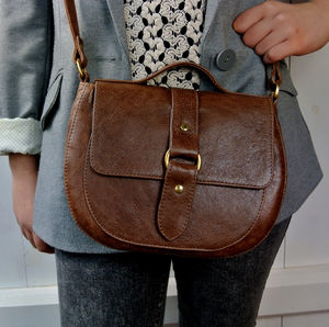 Handcrafted Brown Leather Saddle Bag - womens